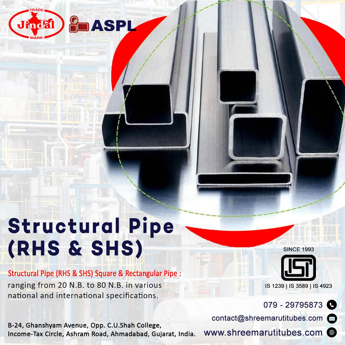 Structural Pipe (RHS & SHS) Square & Rectangular Pipe : ranging from 20 N.B. to 80 N.B. in various national and international specifications. #structuralpipe #rhs #shs #squarepipe #rectangularpipe #is1239 #is3589 #is4923 #hollowsectionpipe #shreemarutitubes https://t.co/n5oJ9QdmIx