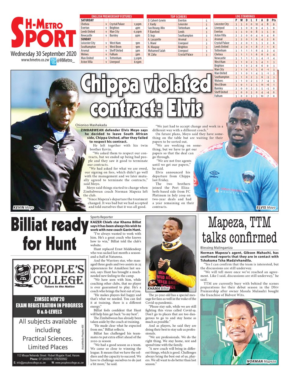 Todays back page via @ hmetro.co.zw : 🔴Billiat ready for Hunt 🔴Mapeza, TTM talks confirmed 🔴Chippa violated contract: Elvis