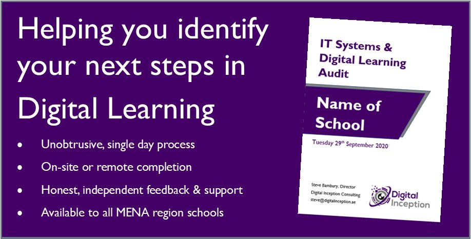 Over the last week I've been working with a couple of schools to help them on their digital learning journey. If you are interested in booking me to deliver a one-day IT Systems/Digital Learning audit, then please feel free to message me. #hybridlearning #education #TeachUAEchat https://t.co/87e1gWJzne