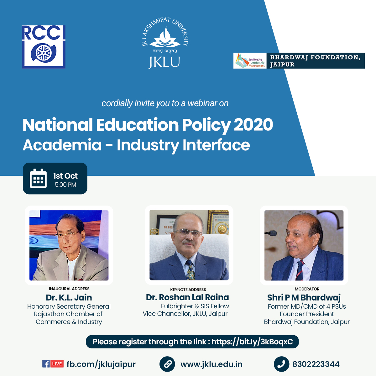 "#JKLU in association with Rajasthan Chamber of Commerce & Industry, and Bhardwaj Foundation, #Jaipur is organizing a webinar on ""National Education Policy 2020:  Academia-Industry Interface."" #NEP2020   Click on the link to register in advance: https://t.co/3RC0r9eDVk #education https://t.co/IskR4ZN0Mo"