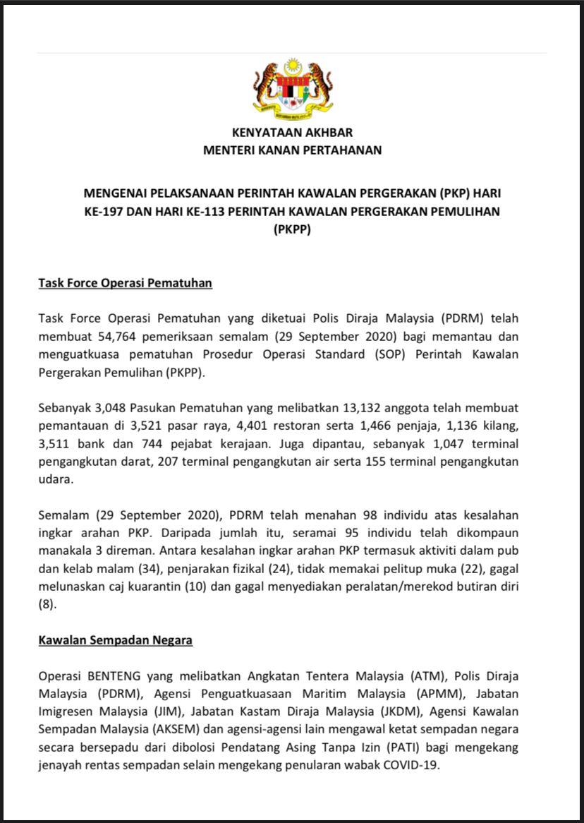 Kenyataan Akhbar Menteri Kanan Pertahanan: Perintah Kawalan Pergerakan Pemulihan (PKPP) (30 September 2020)  @MINDEFMalaysia  @KKMPutrajaya  @jpmgov_  @JPenerangan  @PDRMsia  @MarkasATM https://t.co/mLd2zXFi77