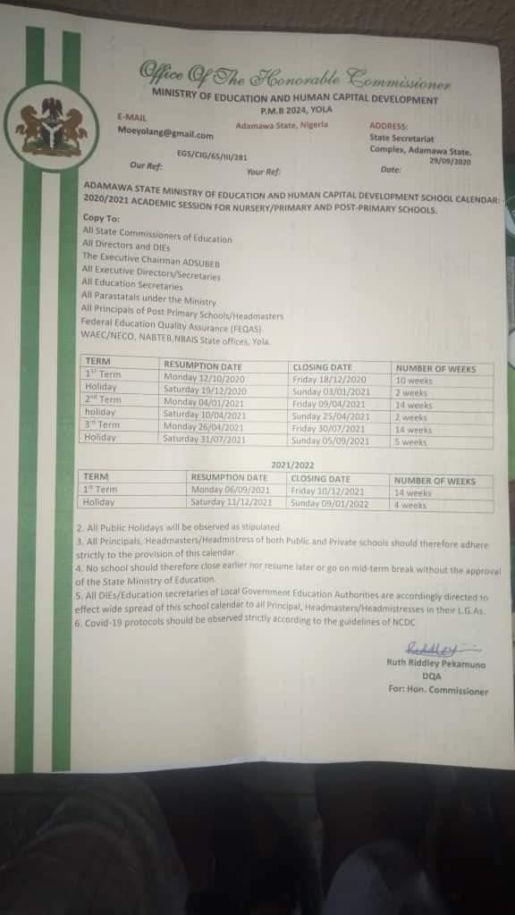 Ssa Calendar 2022.Muhammad Bakari Tukur Ssa New Media To Gov Fintiri On Twitter Academic Calendar As Released By Ministry Of Education Adamawa State