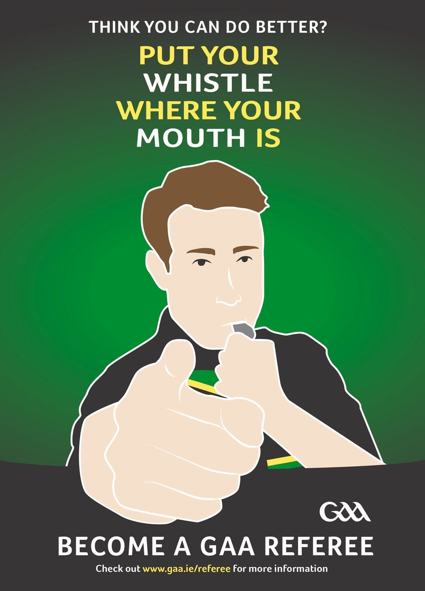 """Are you interested in becoming a referee? Think you can do better? Then """"Put your whistle where your mouth is"""" and """"Become a GAA Referee""""! All details in the link below!   ⌚️🏳️🟥🟨   https://t.co/Kw3T5DPkTf  #gaa #referees https://t.co/ObgKdCRxAx"""