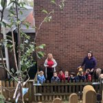 Nursery plum tree planting this morning @thenewbeacon Exciting to add to their new garden!