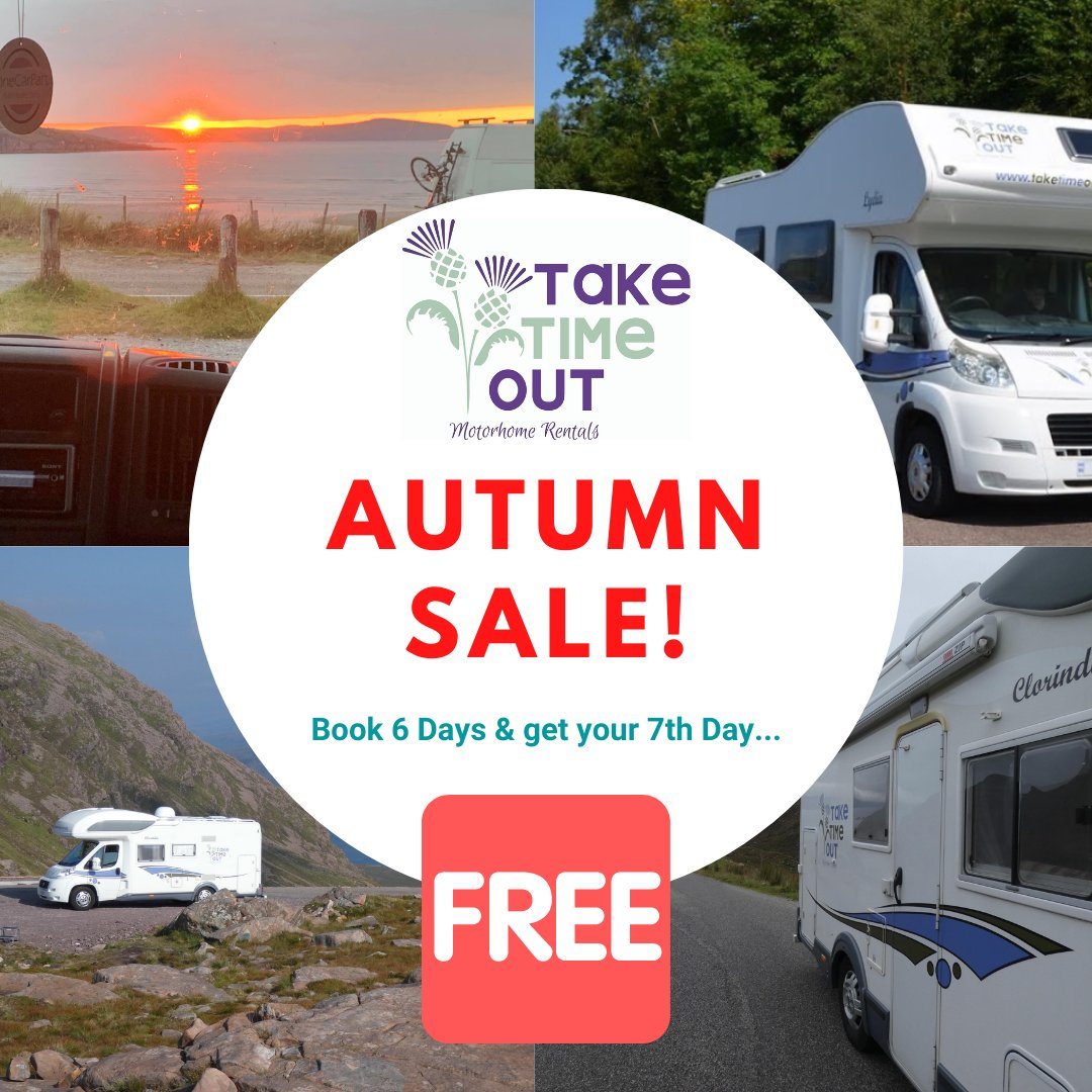 Got leftover holidays still to take this year? Take advantage of this great offer from @TTORentals  and book 7 days rental for the price of 6 days!   Book now at https://t.co/5INR7hq0OZ  #aberdeen #aberdeenshire #NC500 #NE250 #motorhomescotland #tourscotland #visitscotland https://t.co/vLAifx1fEV