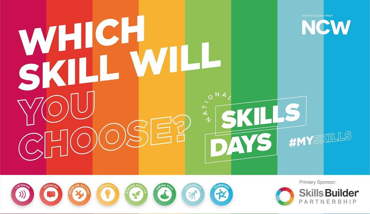 🗣️Get ready for the next @NCWSkillsDays   🗓️ Wednesday 7th October.  ✍️ Sign up now to @Skills_Builder   ➡️ https://t.co/yv59wdUada  🗂️ Microsite packed with everything you need:  ➡️https://t.co/dScjXJseqx  #Myskills  #Skills  #NCW2020 #NCW2021 https://t.co/58zZAG2iqv