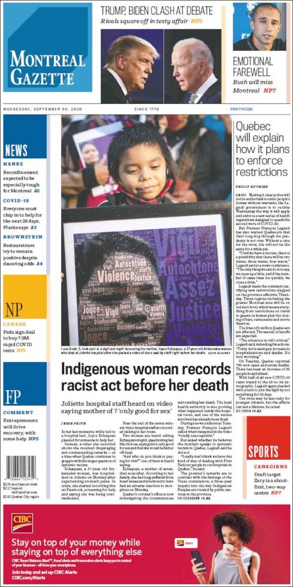 MONTREAL GAZETTE https://t.co/59DsoCzRZV #r2p #MontrealGazette #Gazette #News #UE #Canada #Montreal #Ottawa #Toronto #Quebec #JustinTrudeau #EU #USA #Macron #Obama #Biden #Trump #TSX #Coronavirus #Covid #Sports #Epstein #PrinceAndrew #Beirut #Hockey #JacobBlake #USOpen #Djokovic https://t.co/QB6hyVItNo
