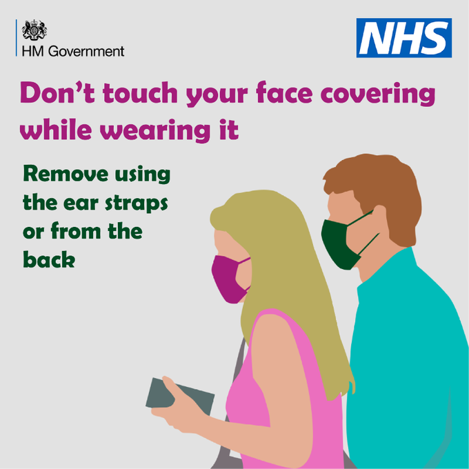 Face coverings are mandatory in most indoor spaces.  But remember: ❌Do not touch the face covering while wearing it  ✅Remove it using the ear straps or from the back   Doing this helps to reduce the spread of infection of #COVID19.  Click to learn more👇 https://t.co/fQwbIwHTw1 https://t.co/sbeV2WbPxp