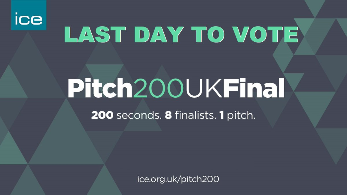 TODAY is the LAST DAY to vote and have your say on who you want as this year's @ICE_engineers Pitch 200 winner!  Head over and give our regional winner Maria your vote here:  https://t.co/XhlAA6likq before September 30! https://t.co/zAcAU6pRrr