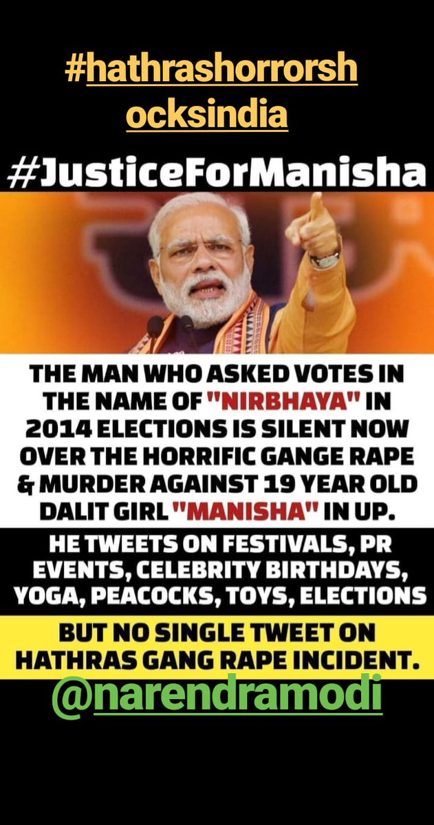 #HathrasHorrorShocksIndia @PMOIndia @narendramodi @rashtrapatibhvn @RahulGandhi https://t.co/5eUotj3W7N