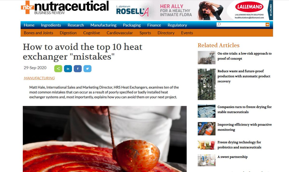 """test Twitter Media - HRS is featured in Nutraceutical Business Review @NBR_Magazine on: How to Avoid the Top 10 Heat Exchanger """"Mistakes"""". It talks about 10 most common mistakes and how to avoid them. Read more: https://t.co/DmR9ULX52u https://t.co/YjnVG5RO7n"""