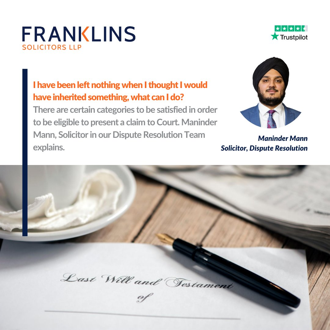 I have been left nothing when I thought I would have inherited something, what can I do? There are certain categories to be satisfied in order to be eligible to present a claim to Court. Maninder Mann, Solicitor explains:  https://t.co/io2BQGwcZv #InheritanceActClaims https://t.co/UGbKY25M8y