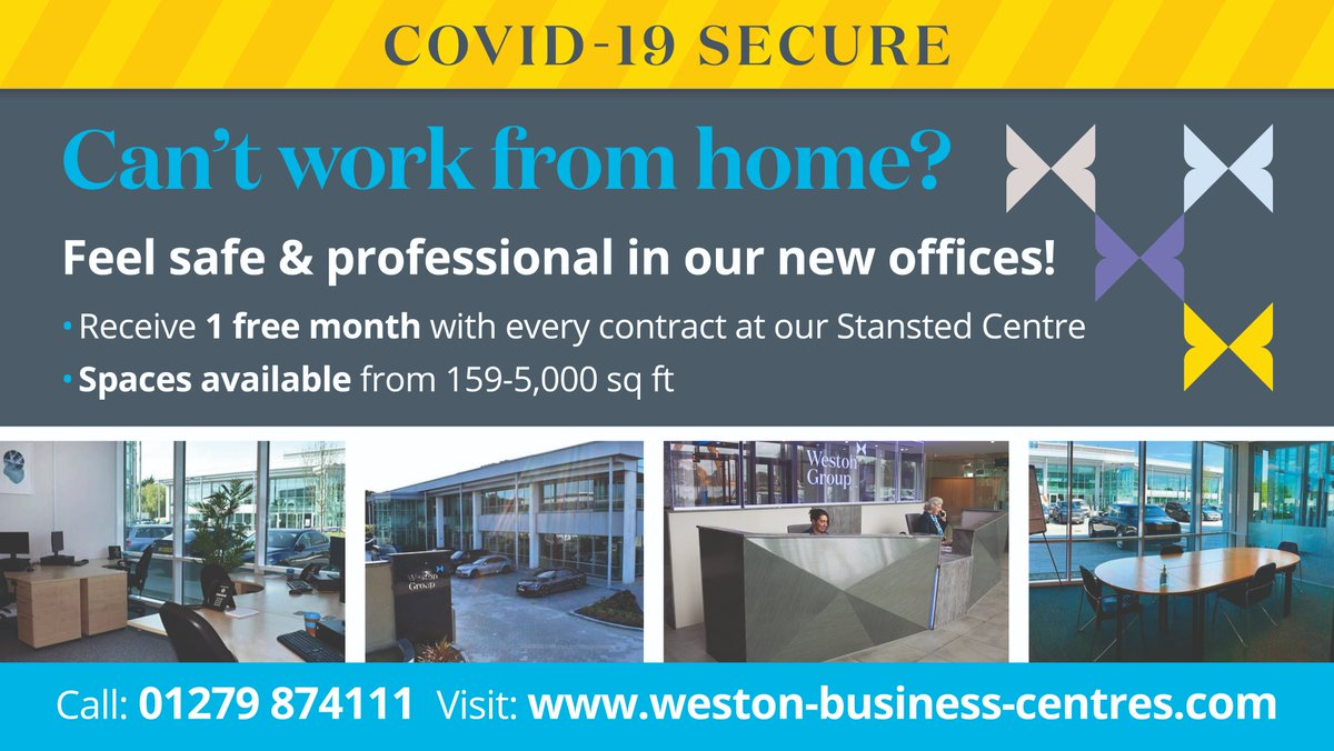 If you are unable to #workfromhome why not feel safe & professional in @WBCentres brand new offices! At the #Stansted centre, receive 1 free month with every contract! Call 01279 874111 or visit bit.ly/3cAWaZb to get in touch #officespace #officestolet