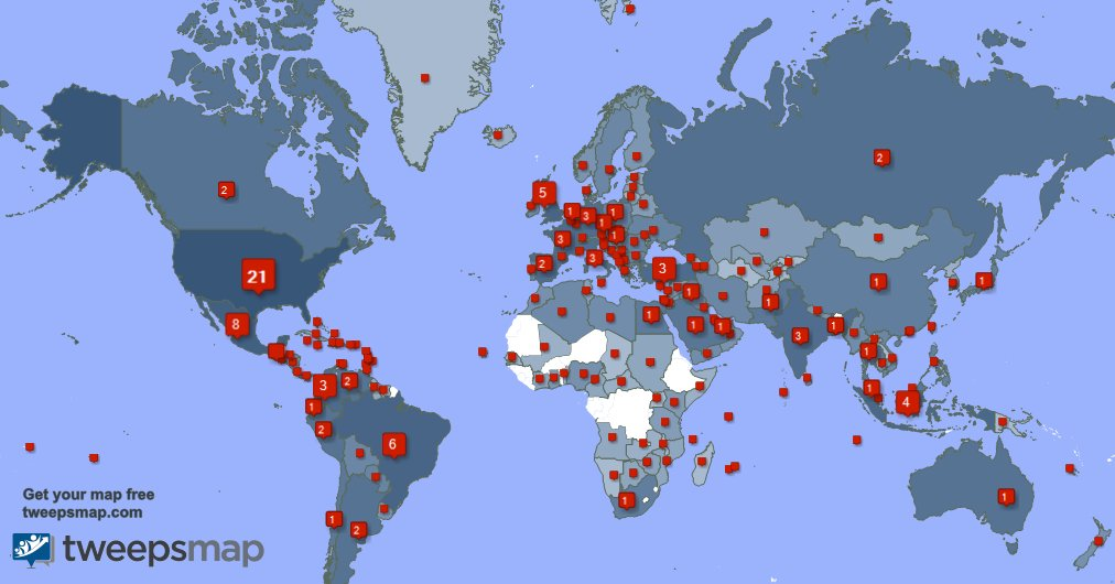Special thank you to my 284 new followers from Indonesia, Russia, Mexico, and more last week. tweepsmap.com/!evelina_darli…