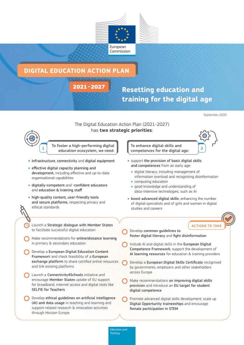 The new #EuDigitalEducation Action Plan arrives just on time. We are in the middle of an unprecedented global crisis of learning caused by Covid-19, investments in #digital #education and #skills are urgently needed👩‍💻