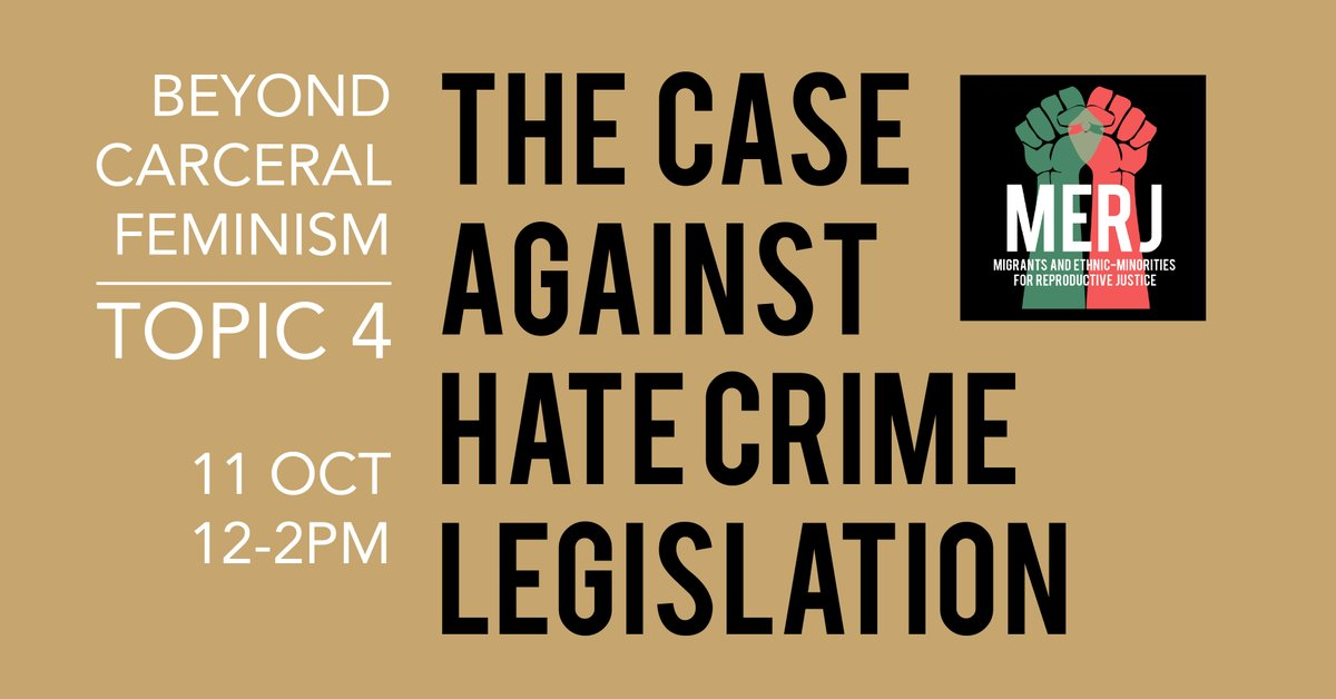 Topic 4 in our Beyond Carceral Feminism series: The case against hate crime legislation will be taking place on Sunday Oct 11, 12-2pm. For reading list and registration form click onto our facebook event: https://t.co/xC0pnl4sF4 https://t.co/2GJDVGyzJz