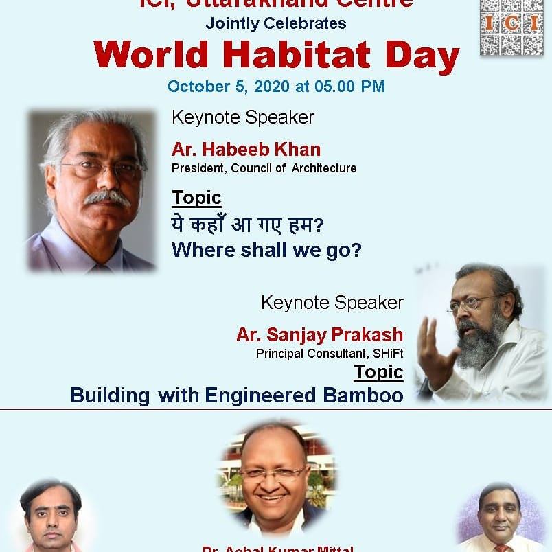Join World Habitat Day by clicking following link: https://t.co/Vb8SresLAb (Institution of Engineers and ICI) @IITRAAOfficial @CSIR_IND @iitroorkee @IStructE @CouncilofArchi1 https://t.co/QwMgGfFmoY