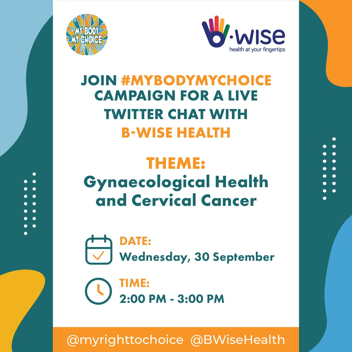 And we are live! Welcome to our Twitter chat. Here are some ground rules before we begin. Please use the hashtags #CervicalCancerMonth and tag @myrighttochoice &  @BWiseHealth in your tweets and responses. https://t.co/P4TPgAwGtA