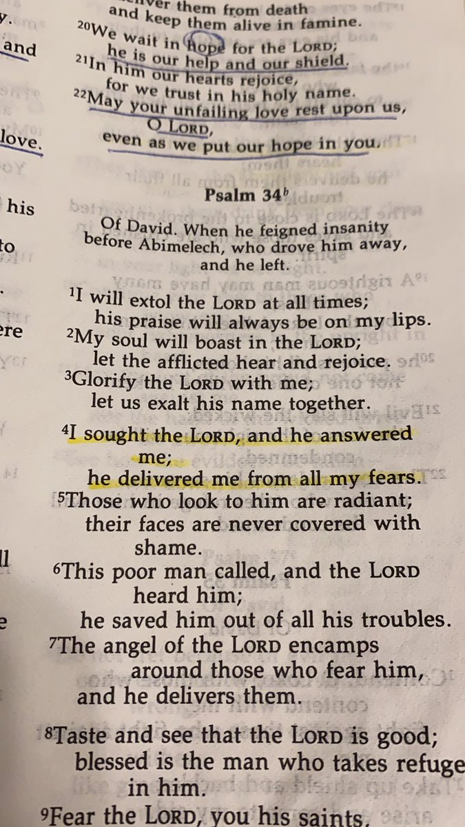 I sought the Lord, and he answered me; he delivered me from all my fears.  Psalms 34:4 https://t.co/dJel3zKIDa