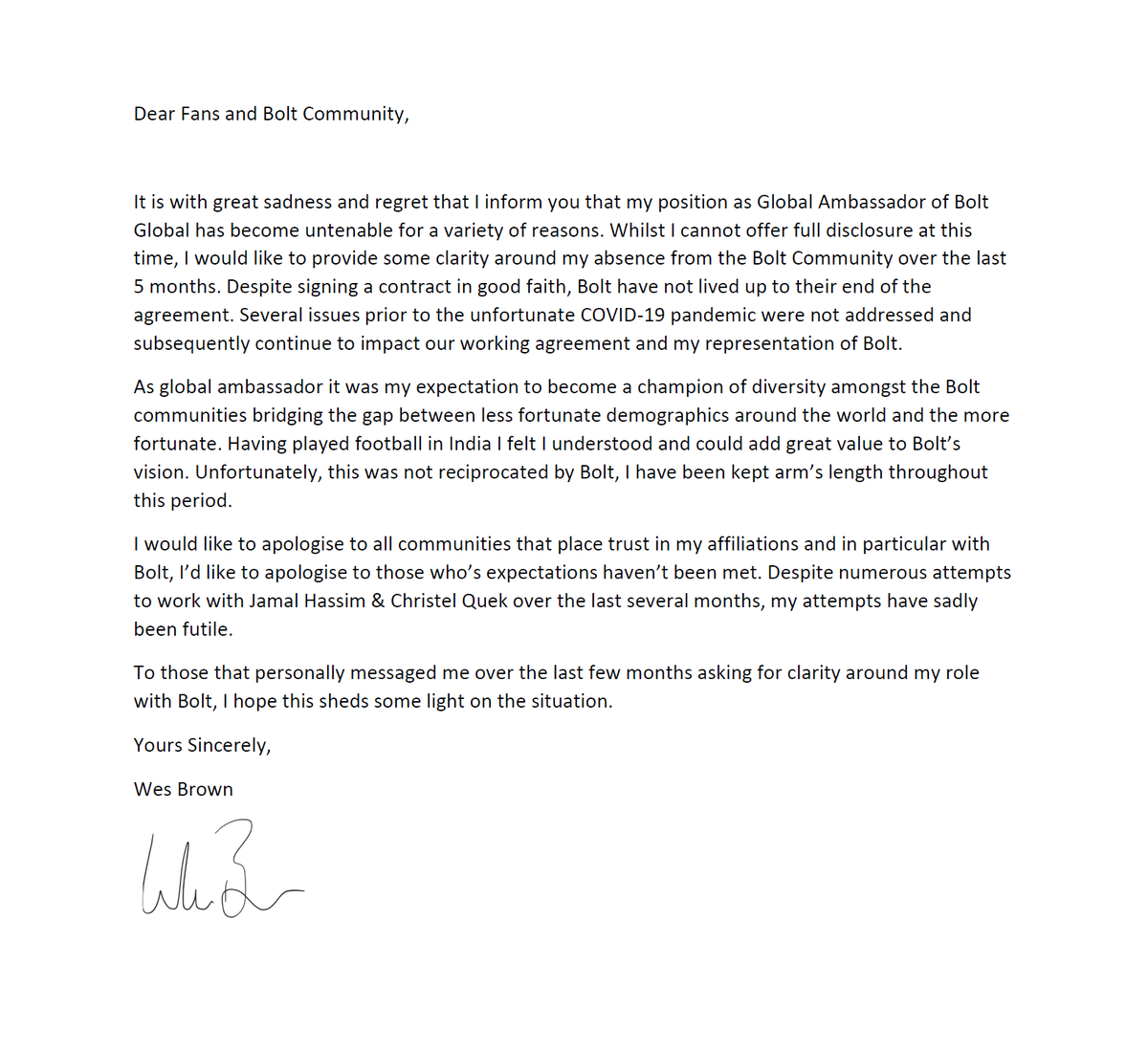 To all that have reached out regarding my position with @Bolt_Global and my interactions with @JamalHassim and @ladyxtel, please see the open letter attached.   $bolt #crypto #GGMU