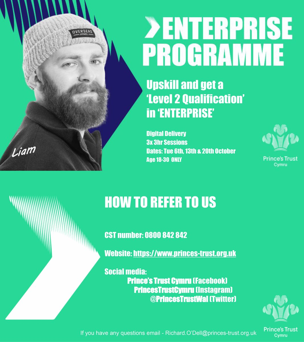 The Prince's Trust have a fantastic opportunity for young people (18-30 y/o) to attend an 'Enterprise Course' focusing on a Level 1 & 2 Qualification in Enterprise.  Call our CST line on 0800 842 842 Or you can email - Richard.O'Dell@princes-trust.org.uk #servingthosewhoservedus https://t.co/OPcQ8Ru1Mn
