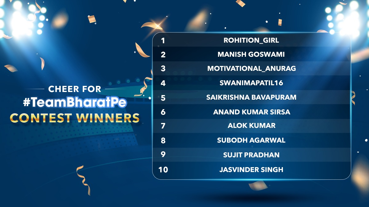 Drum rolls please, Congratulations Lucky #Winners🎉  Keep supporting, keep winning cricket goodies!   P.S. Don't forget to message us your contact details, delivery address & copy of valid photo id to claim your rewards. #TeamBharatPe #contest #WinBig #winnerannouncement #WINWIN