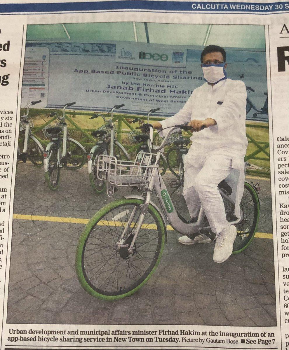 #Kolkata goes for cycle  Great initiative. Dedicated cycle routes must come next . @PritishNandy @virsanghvi @ShekharGupta @GhoshAmitav @SrBachchan @BDUTT @kiranshaw @maitreesh @kaushikcbasu @derekobrienmp @swapan55 @ShashiTharoor @SGanguly99 @DeShobhaa https://t.co/ysPEqkfTny
