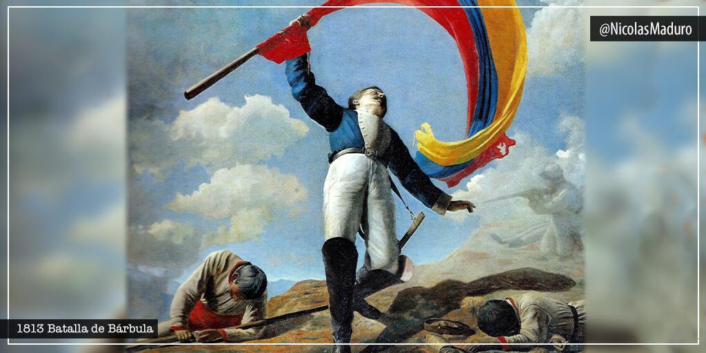 Conmemoramos 207 años del heroísmo y patriotismo que brilló en la Batalla de Bárbula. Victoria alcanzada gracias a la valentía de nuestros héroes Urdaneta y el neogranadino Girardot quien ofrendó su vida aquel día de lucha por la libertad. Bárbula, símbolo de amor y sacrificio. https://t.co/fLZGjzRdO2