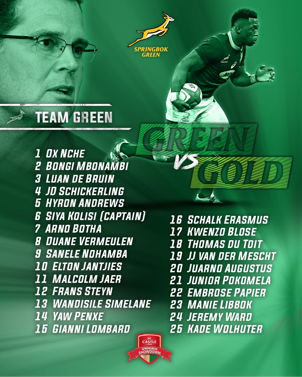 Here are the Green and Gold teams for the Castle Lager Springbok Showdown. 💪 Don't miss out on Saturday's action - kick-off is at 17h05 and the game is live on SuperSport Grandstand. #StrongerTogether @CastleLagerSA