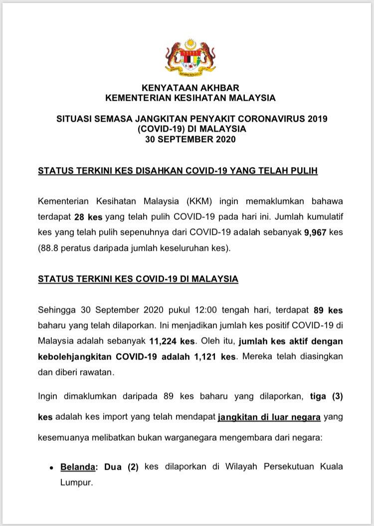Kenyataan Akhbar KKM Situasi Semasa Jangkitan COVID-19 di Malaysia  -28 sembuh -89 kes baharu -5 kluster lapor kes baharu (termasuk 1 kluster baharu) -2 kes kematian https://t.co/A2wR0YxJ4w