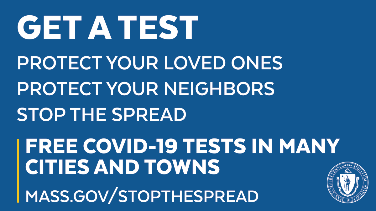 Help us stop the spread of COVID-19 by getting tested. Residents of many communities with high rates of COVID-19 can get tested at no cost to you - even with no symptoms. All results are confidential. See the list of communities: https://t.co/4GSDkB5H5B #covid19MA https://t.co/GW7p7yZSEO