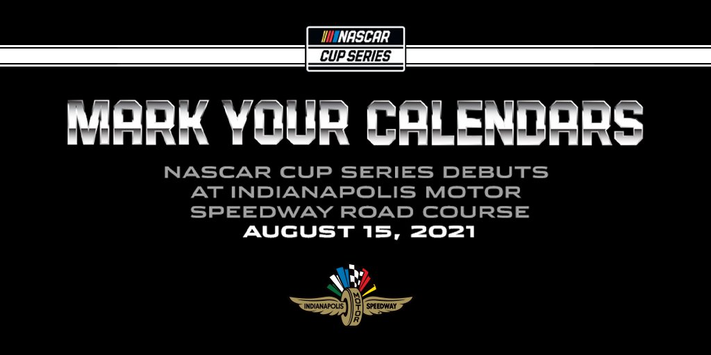 A new chapter of #NASCAR history will be written Aug. 15, 2021. 📕🧱  The @NASCAR Cup Series will shift to the thrilling 14-turn, 2.439-mile #IMS road course, ushering in a new era at the most hallowed ground in all of motorsports.  NEWS: https://t.co/NxNwjV27FN https://t.co/IbUShRnHhf