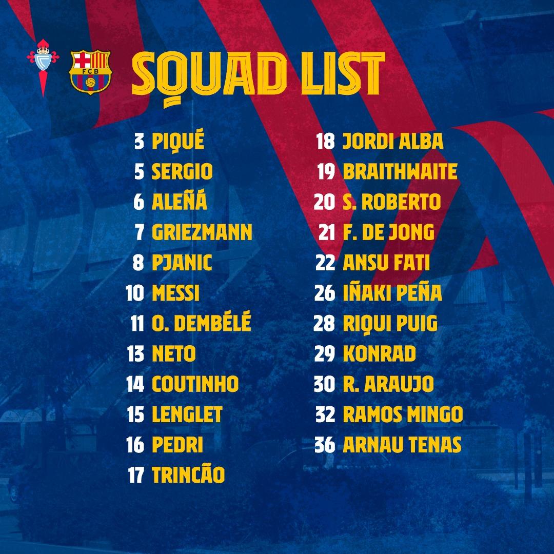 The squad for #CeltaBarça! https://t.co/dremKgyk5w