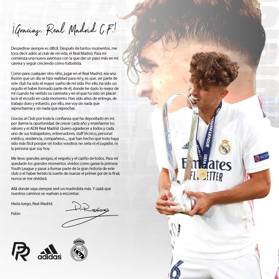 La carta de despedida de Pablo Rodríguez del Real Madrid.