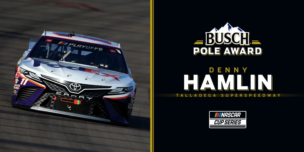 He'll have the best seat in the house leading the field to green!  @dennyhamlin has earned the #BuschPole for Sunday's #NASCARPlayoffs race at @TalladegaSuperS. https://t.co/cu2m5ltpwm