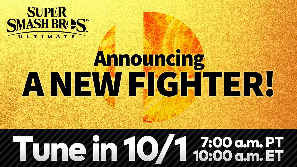 The next #SmashBrosUltimate DLC fighter will be revealed tomorrow at 7am PT! The video presentation will be roughly 3 minutes long, followed by a brief message from Director Masahiro Sakurai. Tune-in here tomorrow: youtu.be/TaDhtEcX1TM