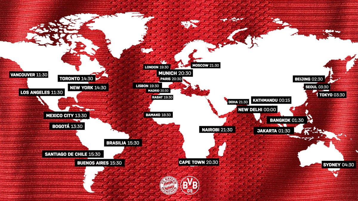 Noch 5⃣ Stunden bis #FCBBVB! 🕣  Von wo aus verfolgt ihr das Spiel heute? 🌍  #Mission5 #packmas #MiaSanMia #Supercup https://t.co/EL79dJZTT0