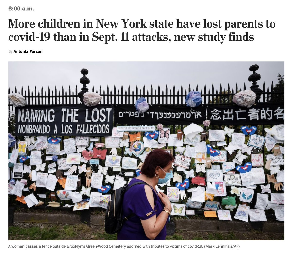 More children in New York state have lost parents to covid-19 than in 9/11, a new study finds. That's 4,200 kids, 1 of every 600 Black children, 1 of 700 Hispanic children. And 325,000 are facing poverty now. Just in New York. https://t.co/zEEwly15Ql https://t.co/uuKazkzKVH