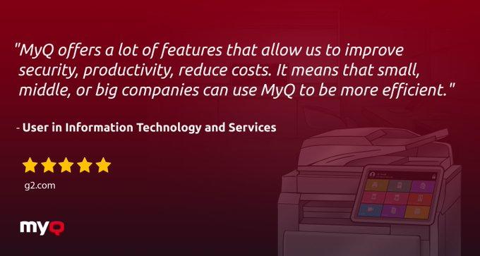 Twitter - MyQ Customer Testimonials from G2   Thanks to MyQ'