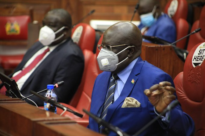 Education CS Prof. George Magoha makes a point before the Departmental Committee on Education on Wednesday for a status update on Measures for safe reopening of schools amid COVID-19, a petition on delayed payment of suppliers by Secondary Schools, and to respond to questions by MPs.
