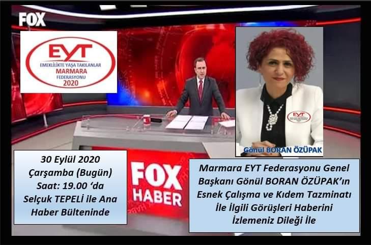 D U Y U R U  👇👇👇  30 Eylül Çarşamba (Bugün) Saat 19.00 da   @MarmaraEytFed Genel Başkanı @gonulborann  Kıdem Tazminatı ve Esnek Çalışma Modeli ile ilgili görüşleriyle @selcuktepelifox ile  @FOXhaber de olacak.  #EmeklilikteYaşaTakılanlar  İzlemeniz dileğiyle... https://t.co/u0CmBONmEj