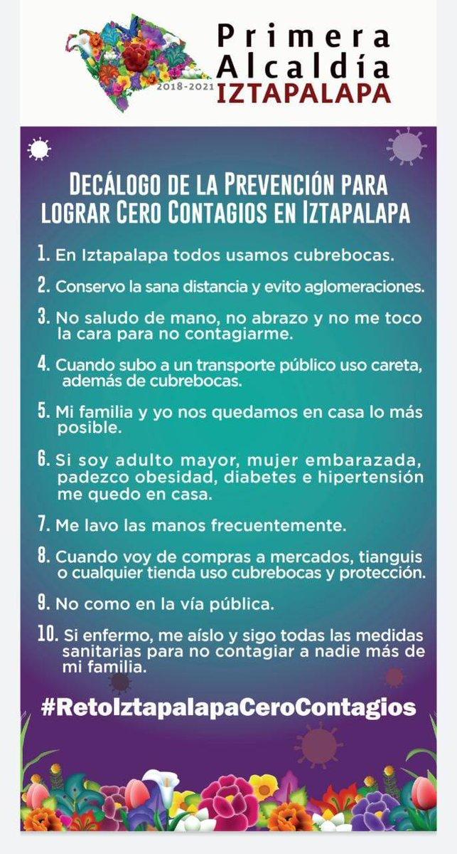 ¡Buen día! Continuamos en #SemáforoNaranja y debemos seguir cumpliendo con el Decálogo de la Prevención para lograr #CeroContagios en #Iztapalapa para derrotar al #Coronavirus. #JuntosLoVamosALograr #RetoIztapalapaCeroContagios #MeCuidoYTeCuido #TodosUsamosCubrebocas https://t.co/WNpdBiCPd4