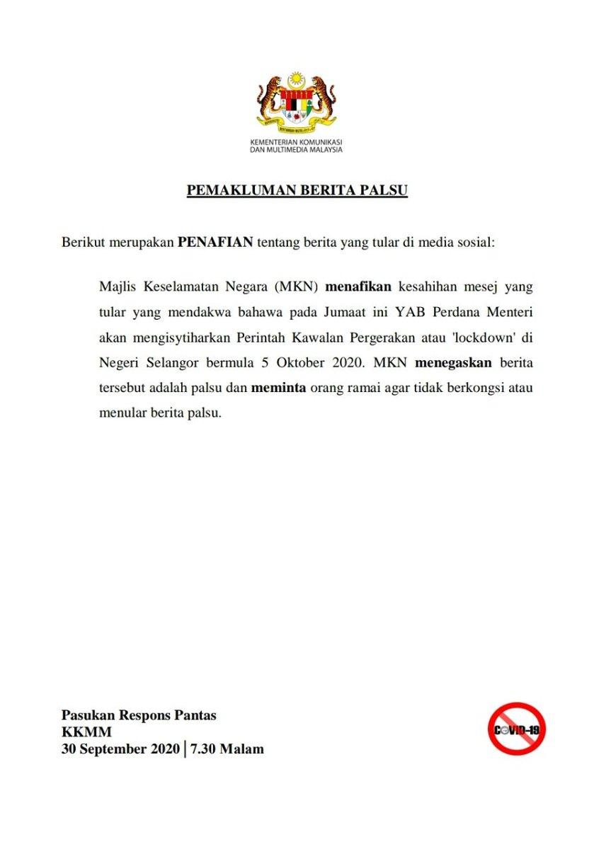 [30 September 2020, 7.30 Malam]  PEMAKLUMAN BERITA PALSU  Berikut merupakan PENAFIAN tentang berita yang tular di media sosial.  Sumber: Kementerian Komunikasi dan Multimedia Malaysia, KKMM  https://t.co/xigdjkMCPc https://t.co/8ofPjULJFf