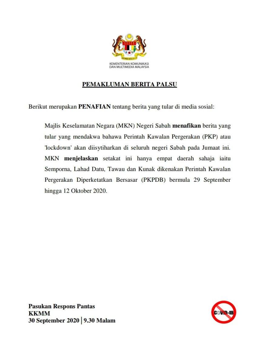 [30 September 2020, 9.30 Malam]  PEMAKLUMAN BERITA PALSU  Berikut merupakan PENAFIAN tentang berita yang tular di media sosial.  Sumber: Kementerian Komunikasi dan Multimedia Malaysia, KKMM  https://t.co/ERIMJSwLMe https://t.co/xFJNv3ZxuK