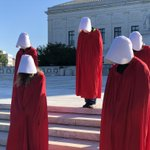 Image for the Tweet beginning: @CPDAction were dressed as Handmaids