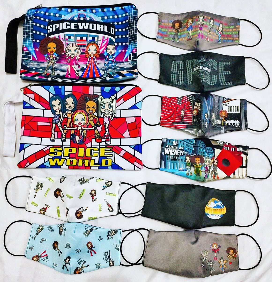 Just receive this cute 🙏 @spicegirls Masks and Pouches...  Original from https://t.co/5bFFkvvmmH Keep safe using Spice Mask ✌️😜 #spicegirls https://t.co/XR1rZhlo0L