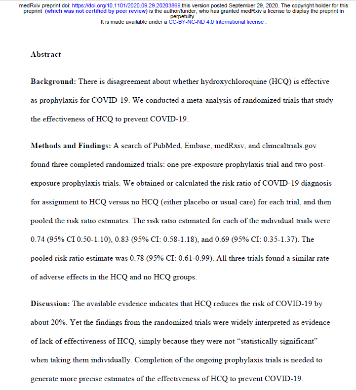 Randomized, placebo-controlled trial (RCT) evidence hydroxychloroquine affords a modest, statistically significant 22% ↓ in C19 infections after high-risk exposure: Meta-analysis of 3 RCTs with total of n=4818 participants, & 342 confirmed C19 infections  https://t.co/6h7fnJtCPi https://t.co/nmF8zIMnqC