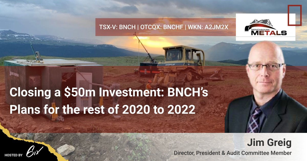 "There's still time to sign up for @MetalsBenchmark 's upcoming #investment #summit: ""Closing a $50m Investment: $BNCH's Plans for the rest of 2020 to 2022"". Learn more about their plans at the Lawyers Au-Ag Project in BC. Register: https://t.co/Wd3OwRNf4p   #gold #silver https://t.co/IHUxrieSZn"