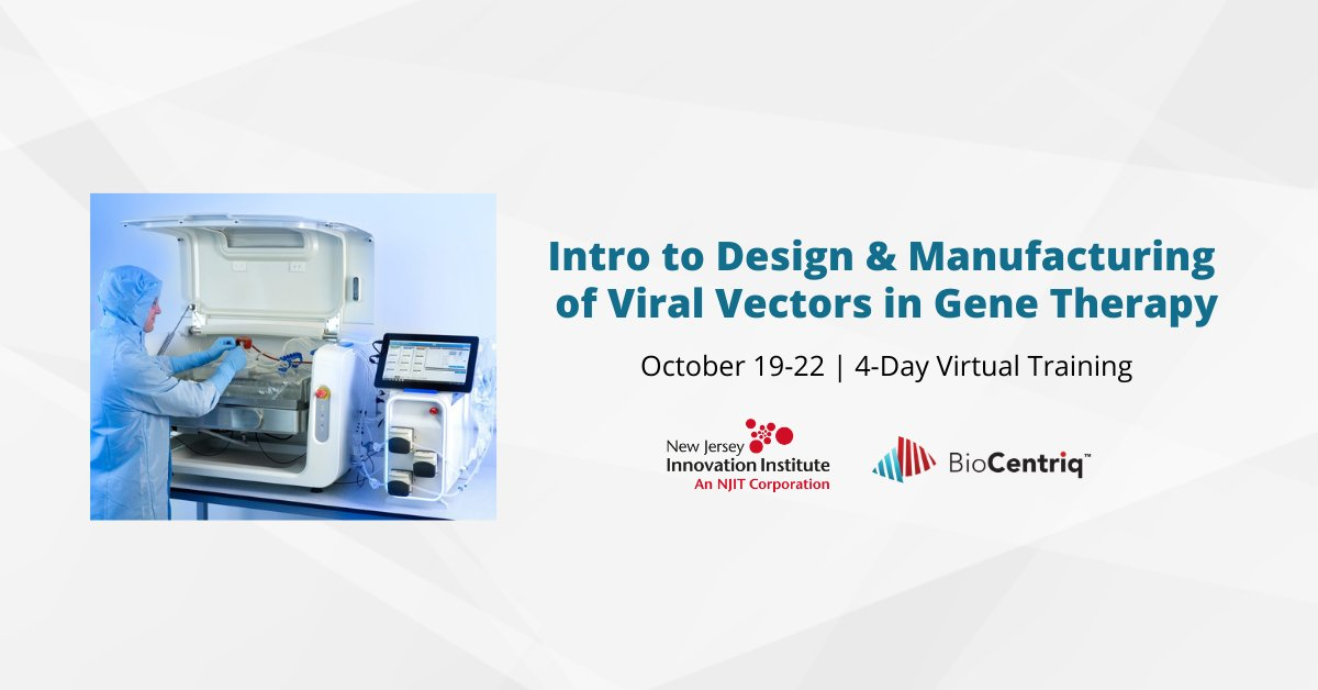 Register TODAY for @NewJerseyII's 4-day online virtual training course designed for #biopharma scientists and engineers to learn more about upstream + downstream processing of viral vectors used in cell and #genetherapy! 👩‍🔬👨‍🔬 https://t.co/zjJ66m6ykU https://t.co/707m4UZrQA