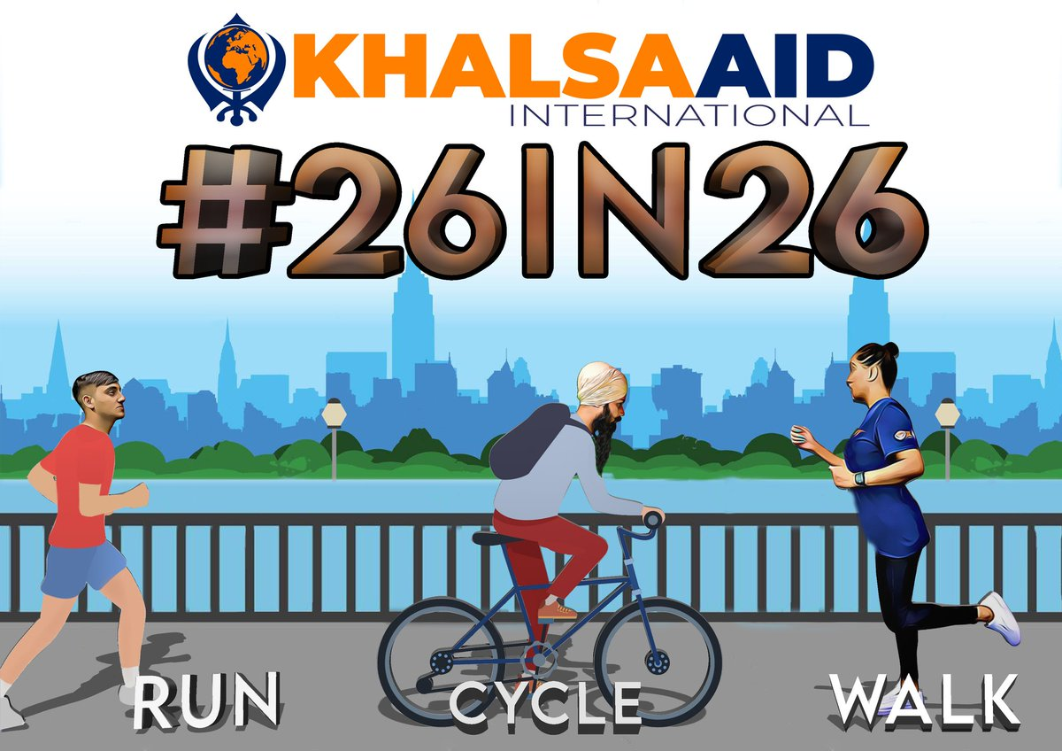 How are you all getting on with the #26in26 fundraising challenge? You can Run, Walk or Cycle and we encourage you to do 26 miles over 26 days. Get registering at the link below which has all the instructions! khalsaaid.org/events/26in26 ARE YOU READY...